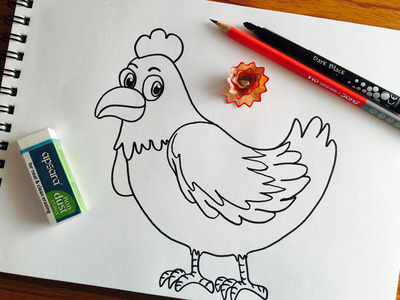 400x300 Hen Outline Drawing By Nandini Thaker