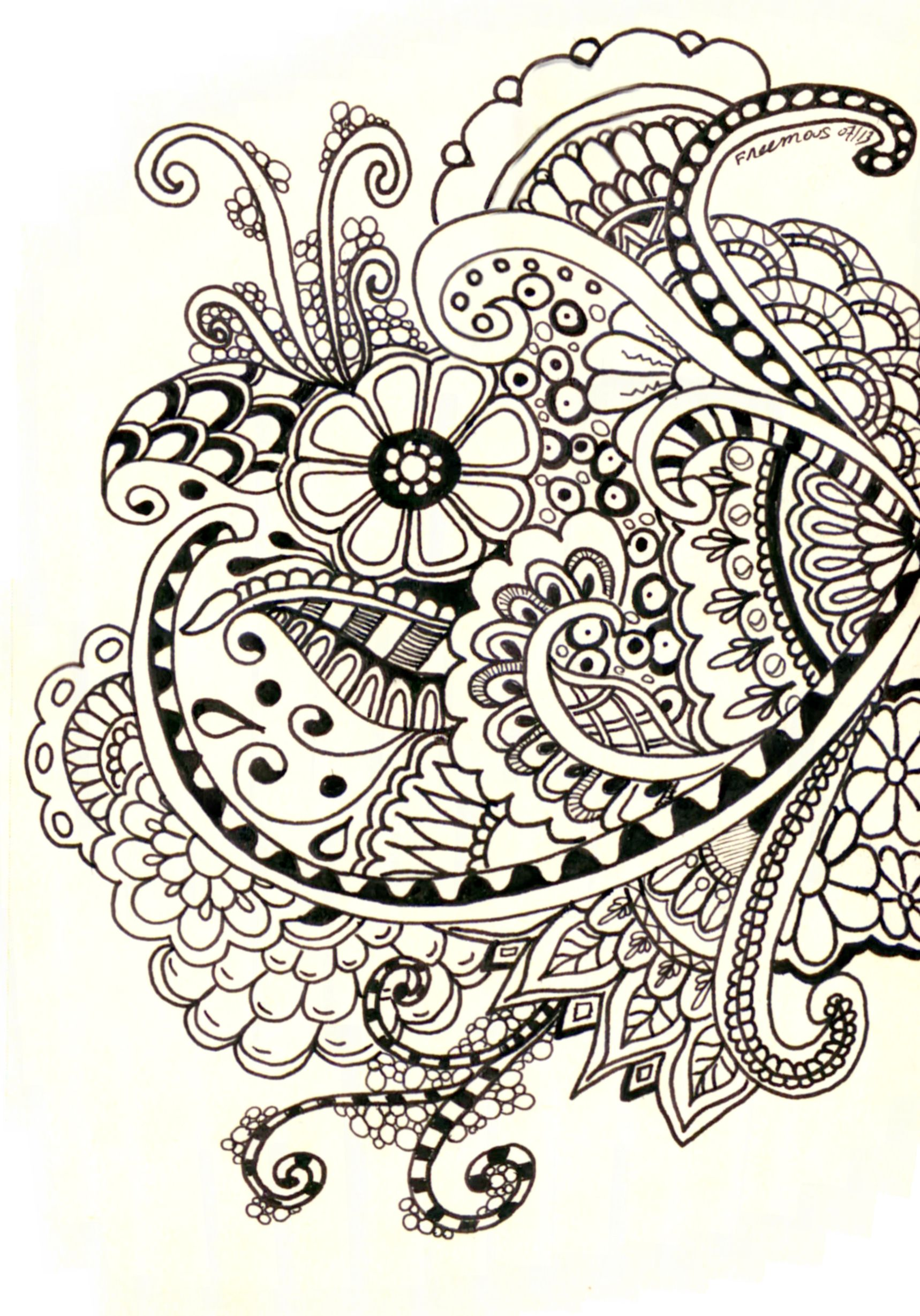 1718x2458 Zentangle Henna Designsh. Basics,practise On Paper Zentangle