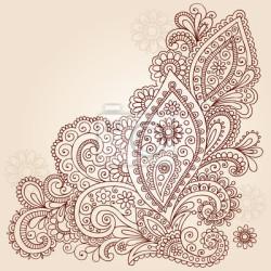 250x250 Henna Mehndi Paisley Flower Doodle Vector Design Wall Mural