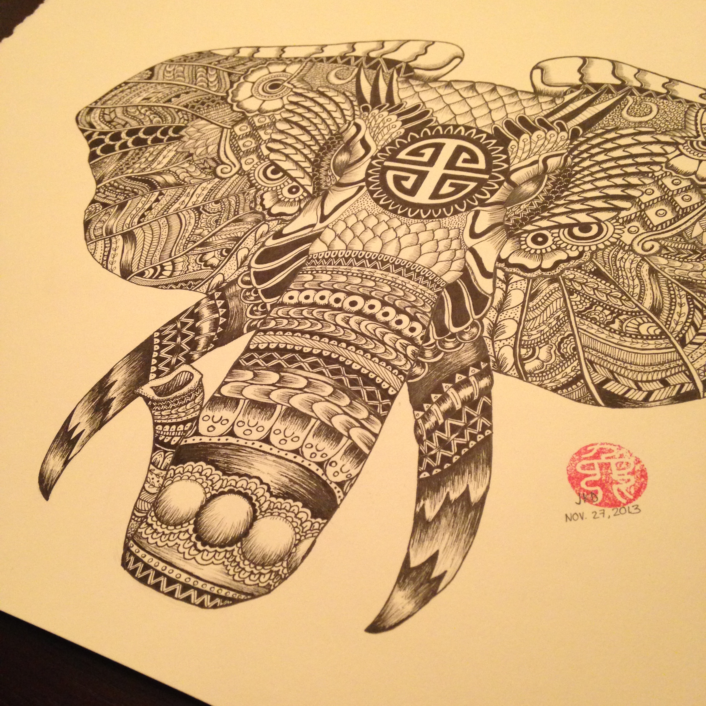 2448x2448 29 Model Henna Elephant Drawing