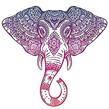 355x354 Purple Pink Ombre Henna Pattern Elephant Head Drawing