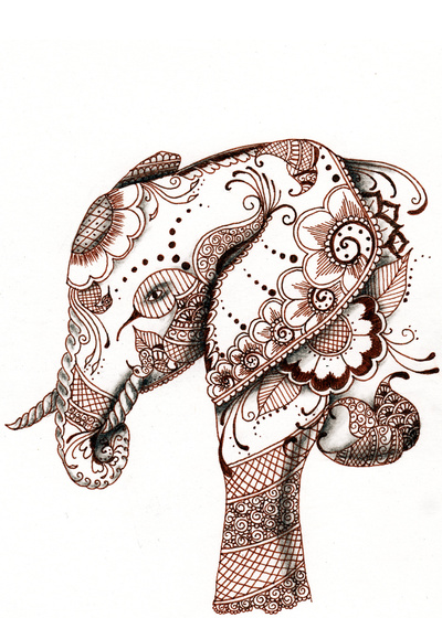400x560 Elephant Art Print Art Journaling Printing, Tattoo