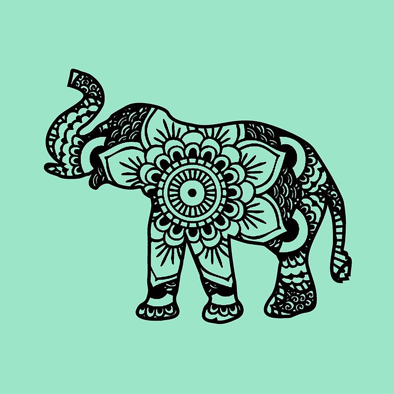 800x800 Mandala Elephant Black Throw Pillows By Laurauroraa Redbubble