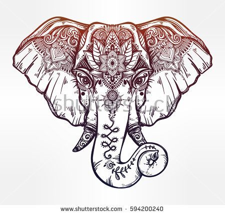 450x429 Vintage Style Vector Elephant With Ethnic Lotus Ornaments. Ideal