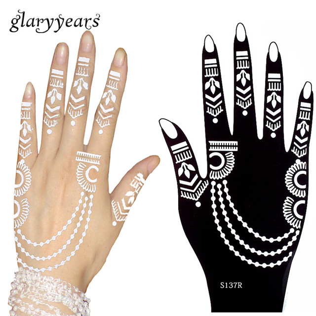 640x640 3 Pairs Flower Lace Henna Hands Tattoo Stencil Paste Drawing
