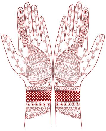 357x439 Henna Hand Draw Design Stock Vector