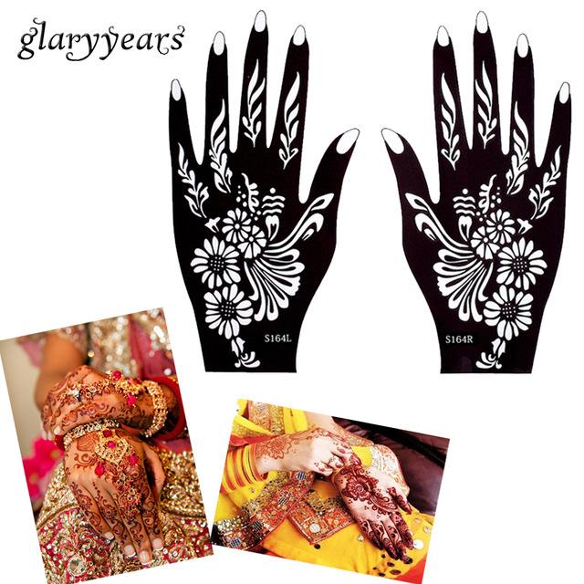 640x640 Glaryyears 32 Designs 1 Pair Hands Henna Stencil Glitter Colors