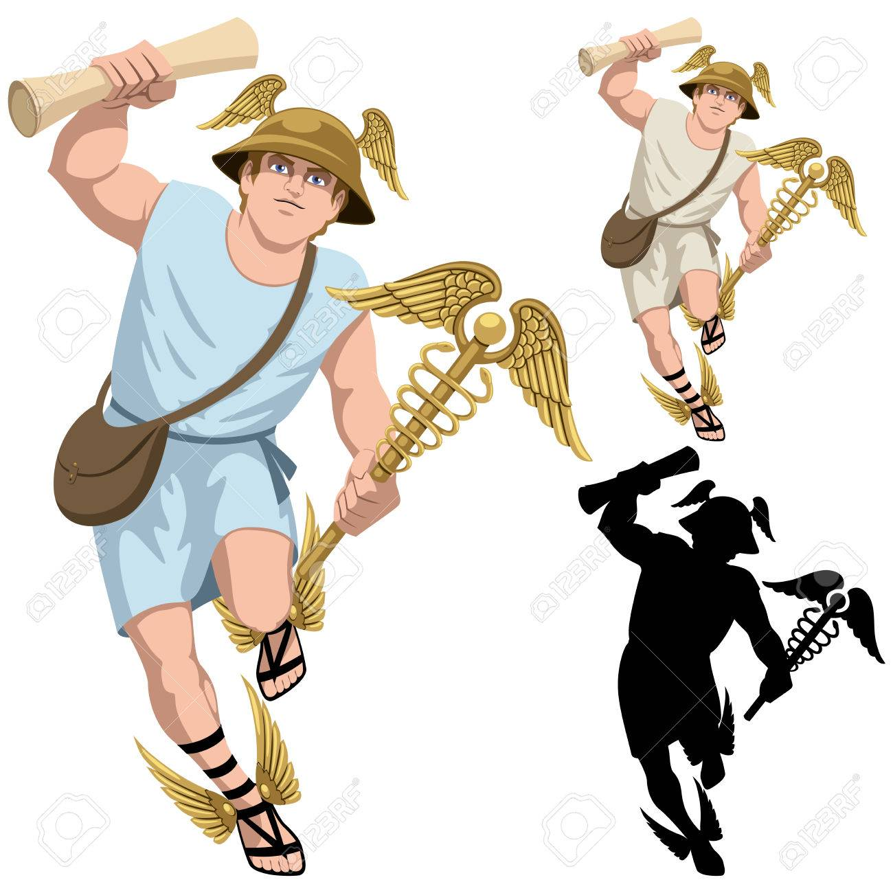 1300x1300 Greek God Hermes Isolated On White And In 3 Versions. Royalty Free