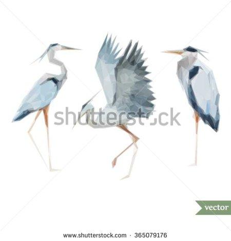 450x470 Polygon Vector Drawing Egret, Triangles, Stylized Bird Gray Heron