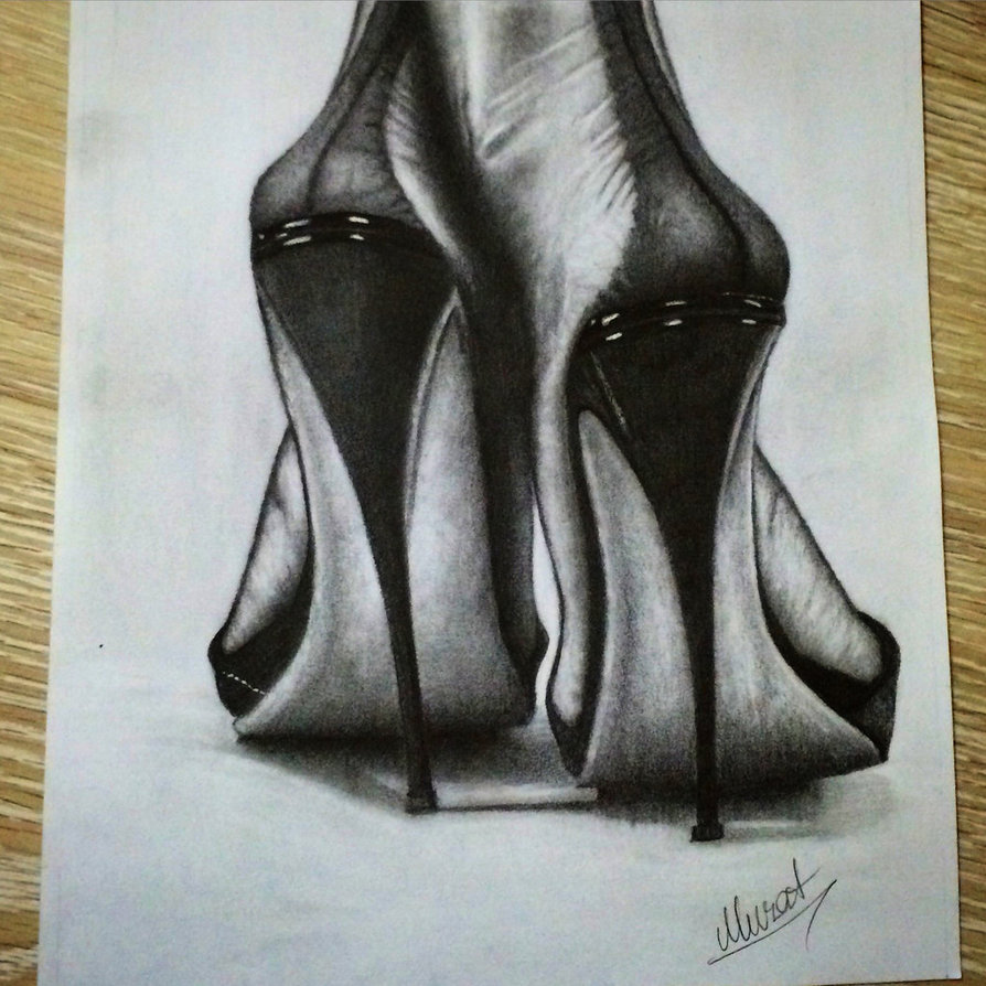 894x894 Drawing High Heels With Pencil By Korkmazart