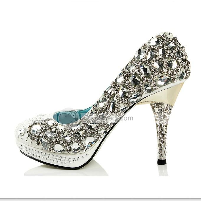 681x681 Jiumu Bling Gem Rhinestone Sequin High Heel Bridal Wedding Shoes