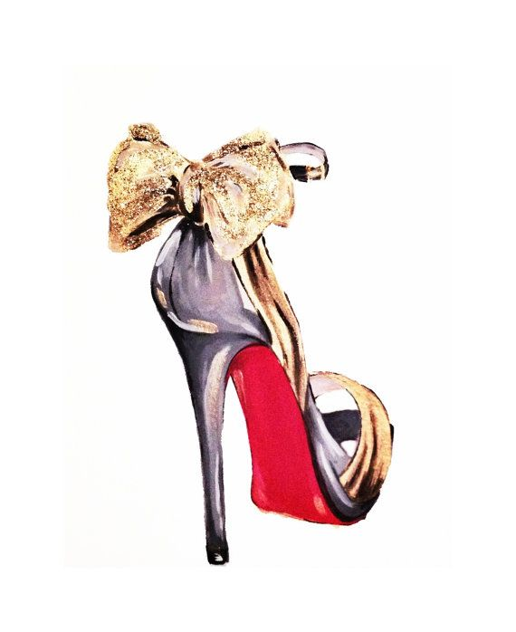 570x698 Print Of Gold Glitter Bow Louboutin High Heel Fashion Illustration