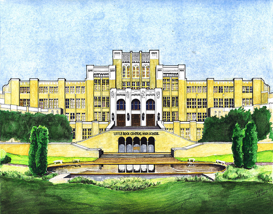 900x707 Little Rock Central High School Drawing By Yang Luo Branch