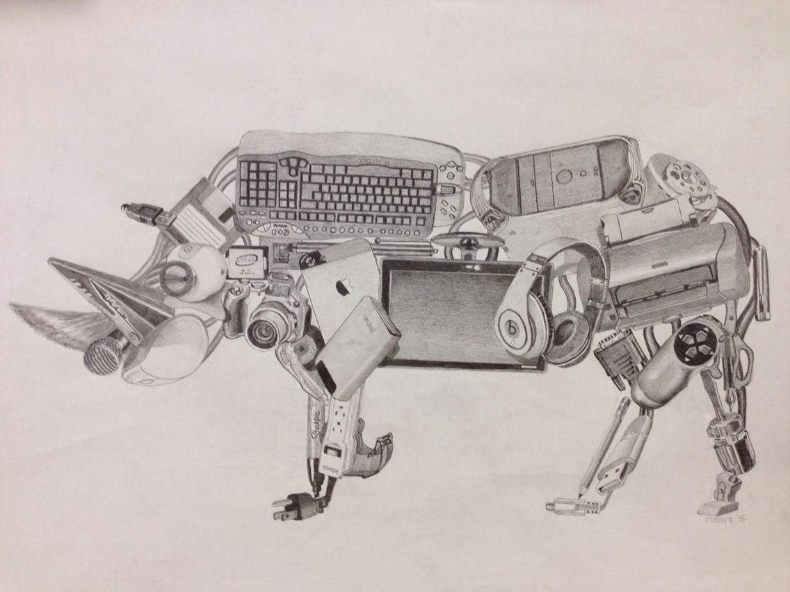 1136x852 Pencil Drawing. Objects Rendered With Unrelated Objects