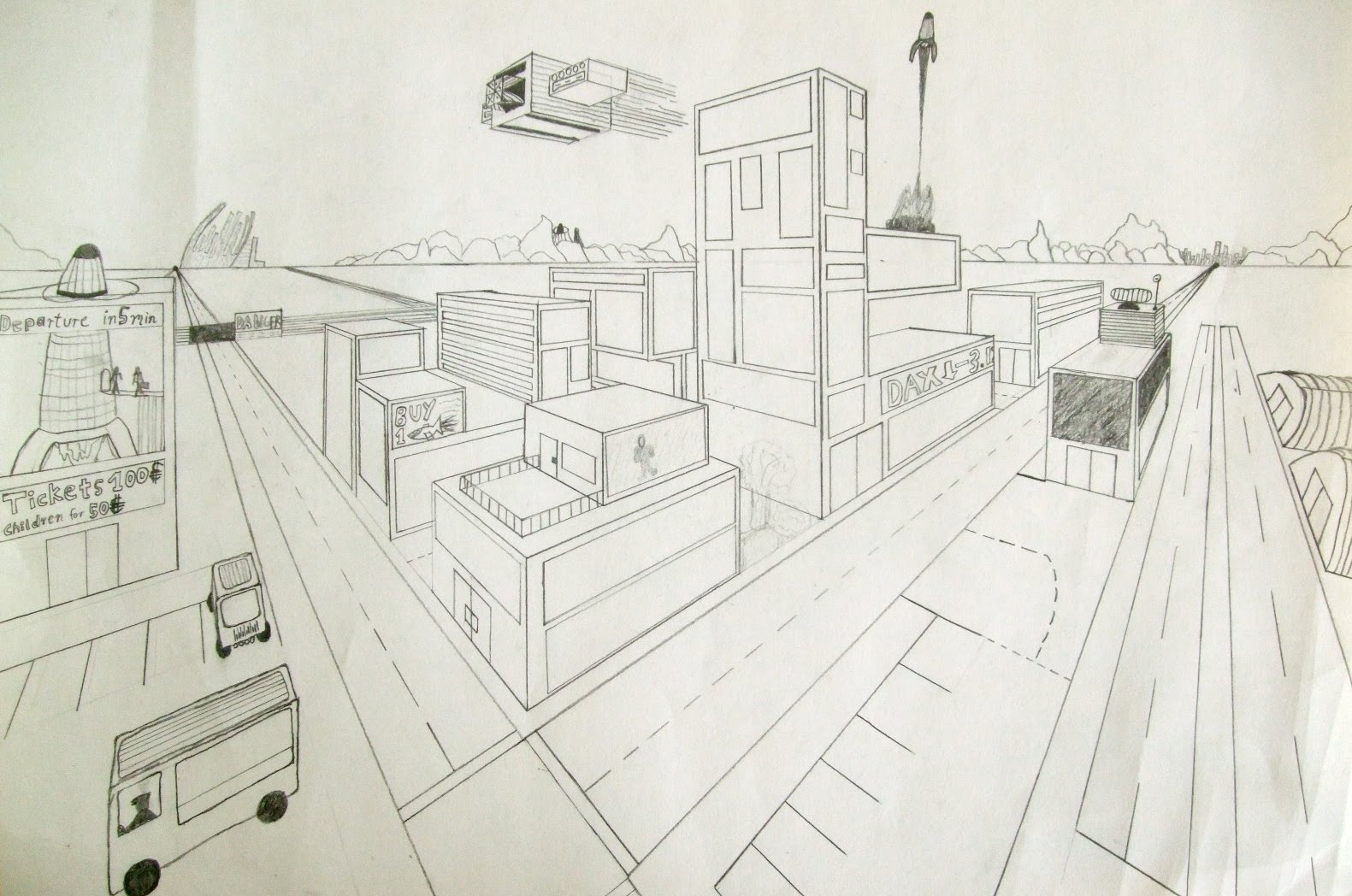 1581x1048 Highschoolart 2 Point Perspective Drawing High School Art