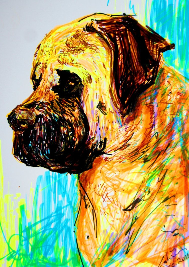 752x1063 Highlighter Drawing Of A Dog By Calvincrimson