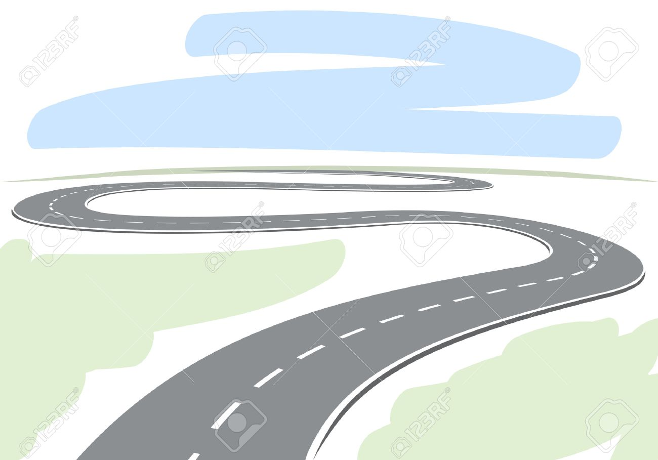 1300x909 Abstract Drawing Of Winding Highway Leading To The Horizon Vector