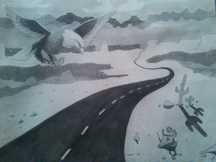 900x675 Desert Highway Drawing By Carrie Pierce