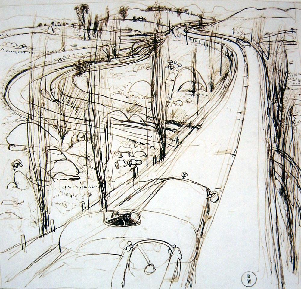 1000x960 On The Highway Brett Whiteley (1939 92) Australia Sketch Styles