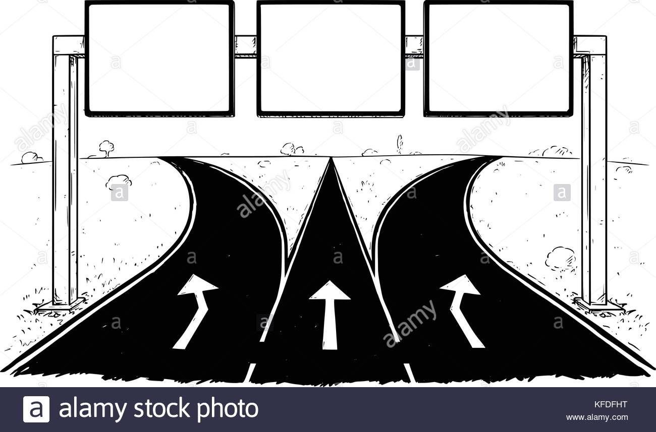1300x857 Vector Cartoon Drawing Of Blank Empty Road Sign On Three Lines