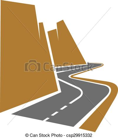401x470 Winding Mountain Road Or Highway With Center Line Following