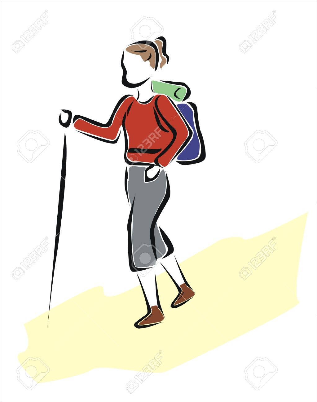 1023x1300 Drawing Of A Woman Hiking Royalty Free Cliparts, Vectors,