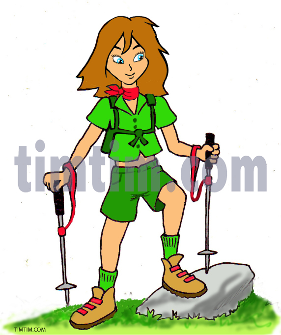 572x682 Free Drawing Of A Girl Scout Hiker From The Category Occupations