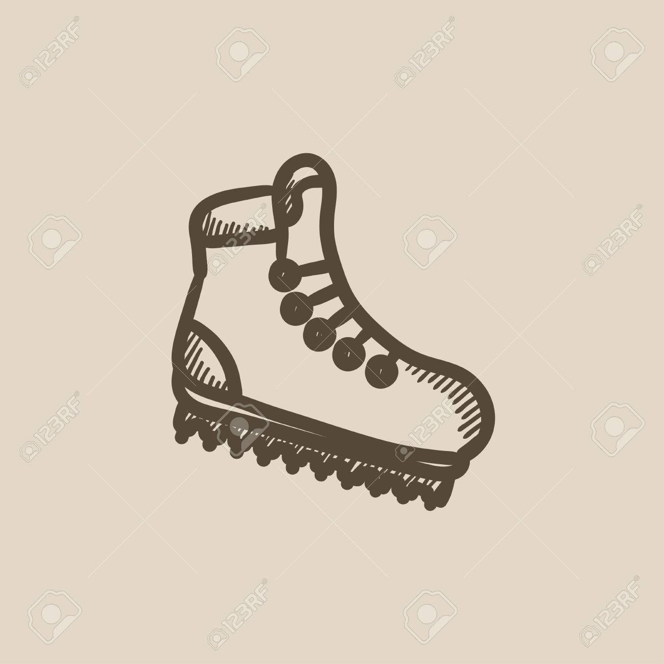 1300x1300 Hiking Boot With Crampons Vector Sketch Icon Isolated