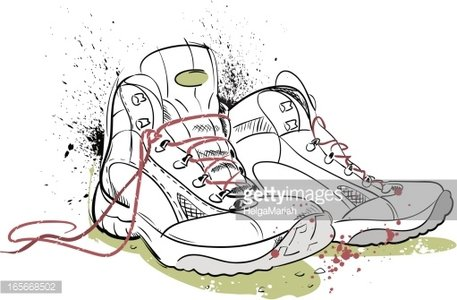 457x300 Hiking Boots Drawing Premium Clipart