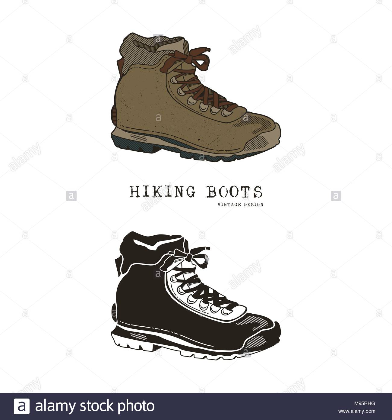 1300x1390 Hiking Boots Stock Vector Images