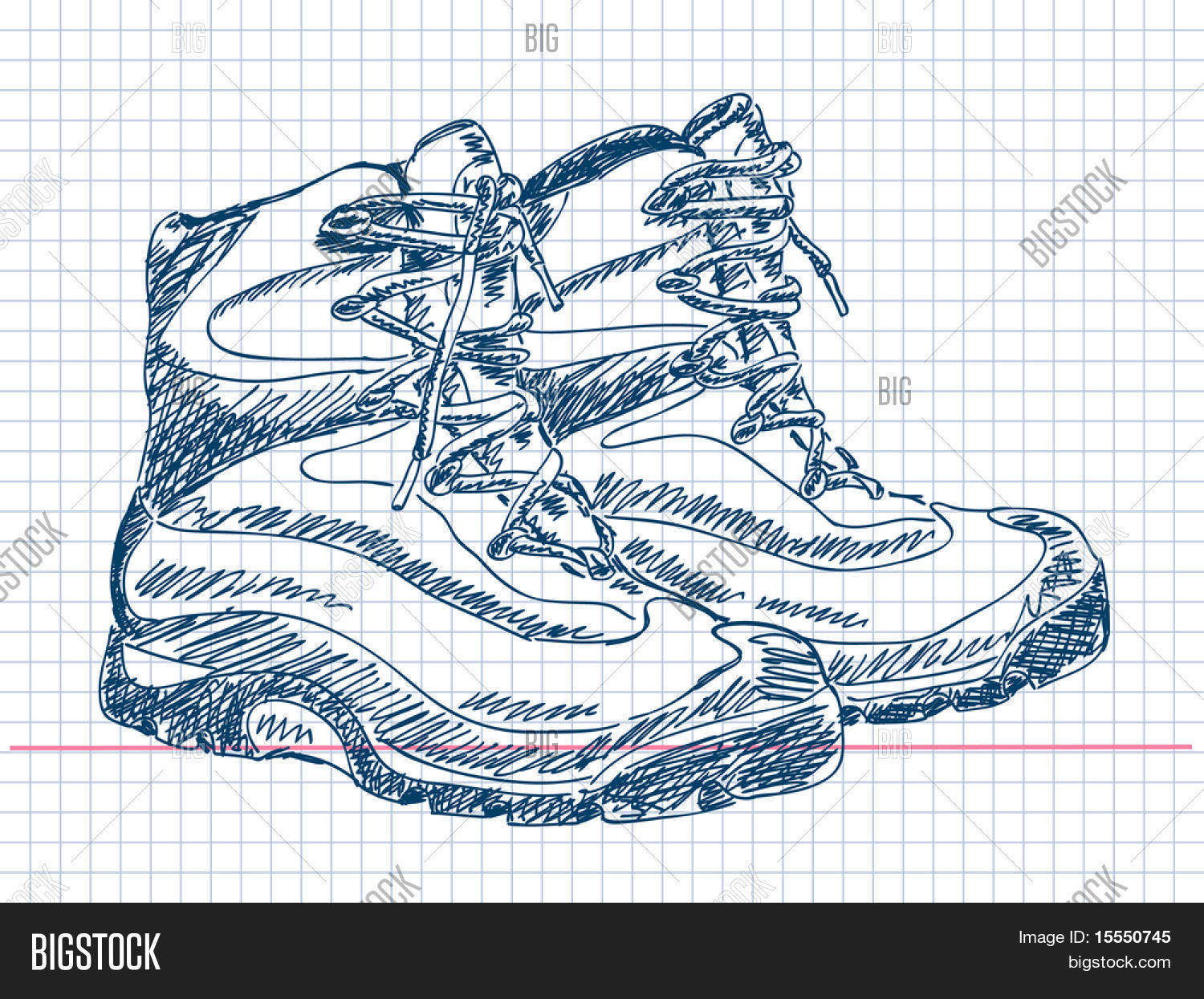 1500x1245 Hand Drawn Hiking Boots Vector Vector Amp Photo Bigstock