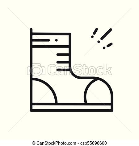 450x470 Hiking Shoes Line Icon. Trekking Boots Sign And Symbol . Vector