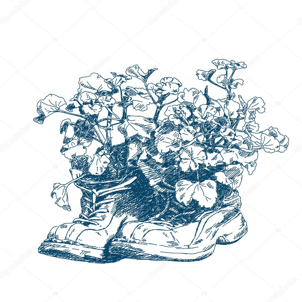 1024x1024 Old Hiking Boots With Flowers Stock Vector Olgatropinina