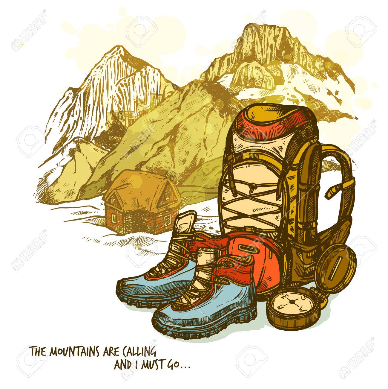 1299x1300 Trendy Hand Drawn Hiking Poster With Boots Compass And Backpack