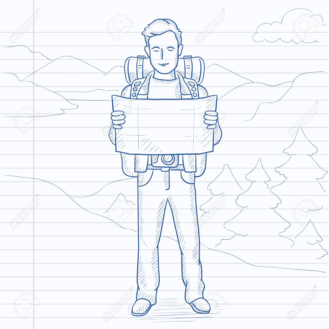 1300x1300 A Man With A Map Hiking In The Mountains. Hand Drawn Vector Sketch