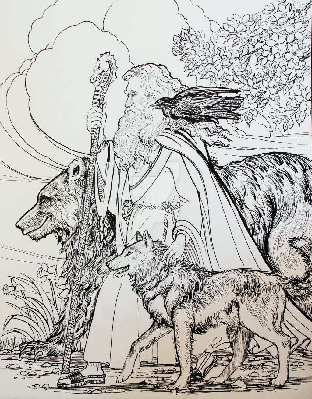 1024x1310 Bear Wolf Wizard Hiking Companions By Houseofchabrier