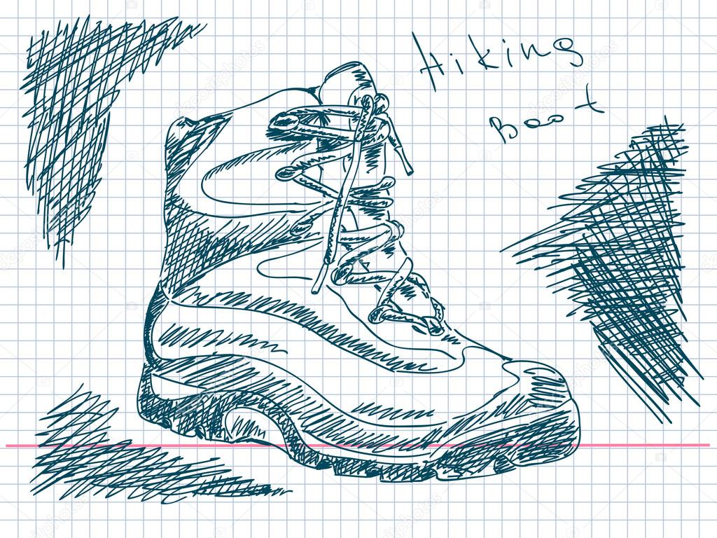 1024x768 Hand Drawn Hiking Boot Vector Stock Vector Olgatropinina