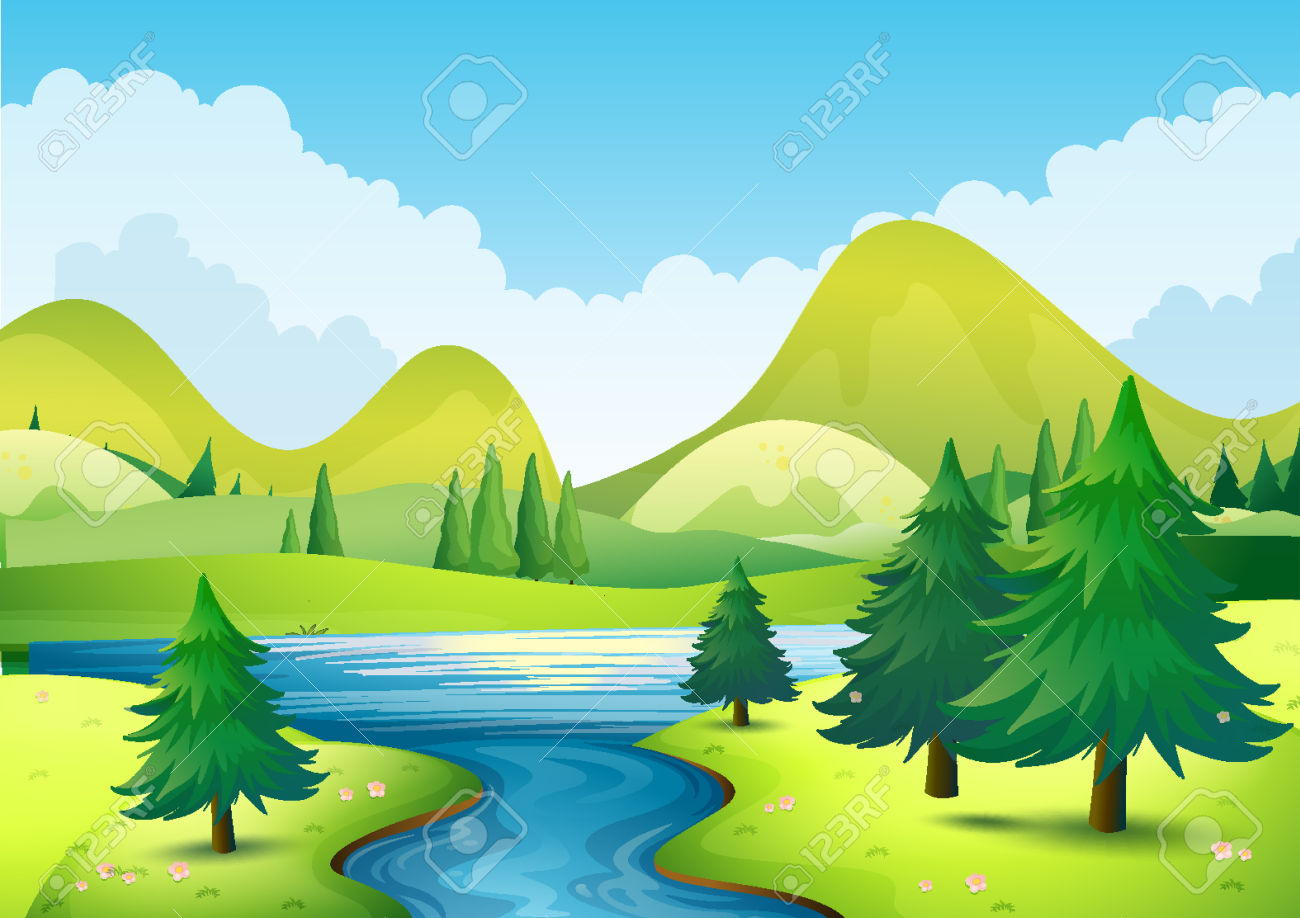 1300x918 Nature Scene For Drawing Nature Scene With River And Hills