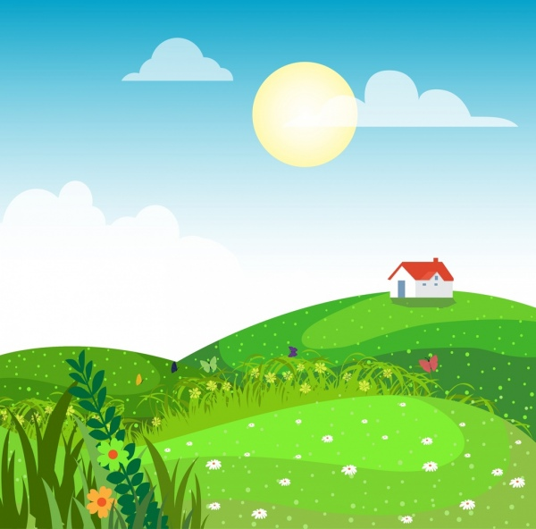 600x592 Rural Landscape Drawing Green Hill Grass Cottage Icons Free Vector
