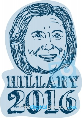 276x400 Hillary Clinton President 2016 Drawing Stock Image