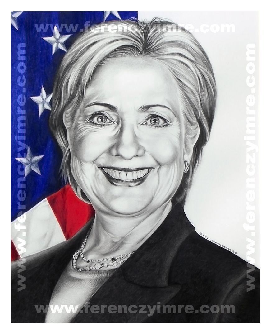 872x1072 Hillary Clinton. Pencil Portrait By Ferenczy Imre. Pencil