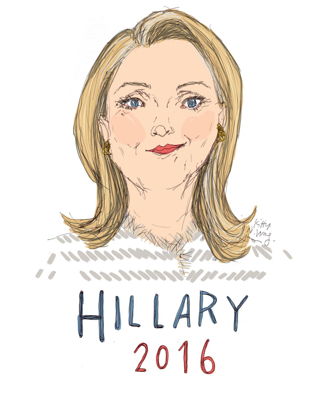 1200x1493 Kitty N. Wong Draws Illustration Hillary Clinton For President!