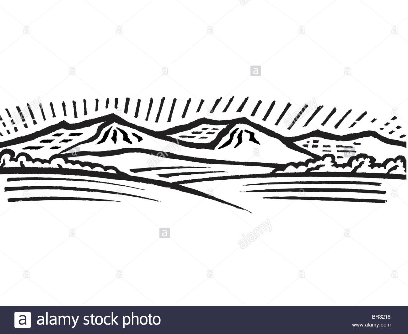 1300x1065 A Black And White Drawing Of Distant Hills Stock Photo 31414916