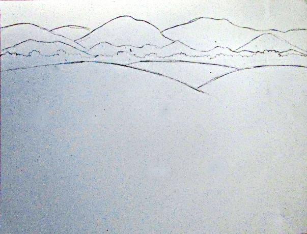 603x460 Color Pencil Landscape Drawing