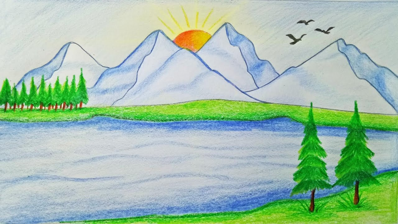 1280x720 How To Draw Scenery Of Mountain Step By Step (Very Easy)