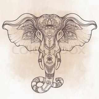 320x320 Beautiful Hand Drawn Tribal Style Elephant Over Mandala. Colorful