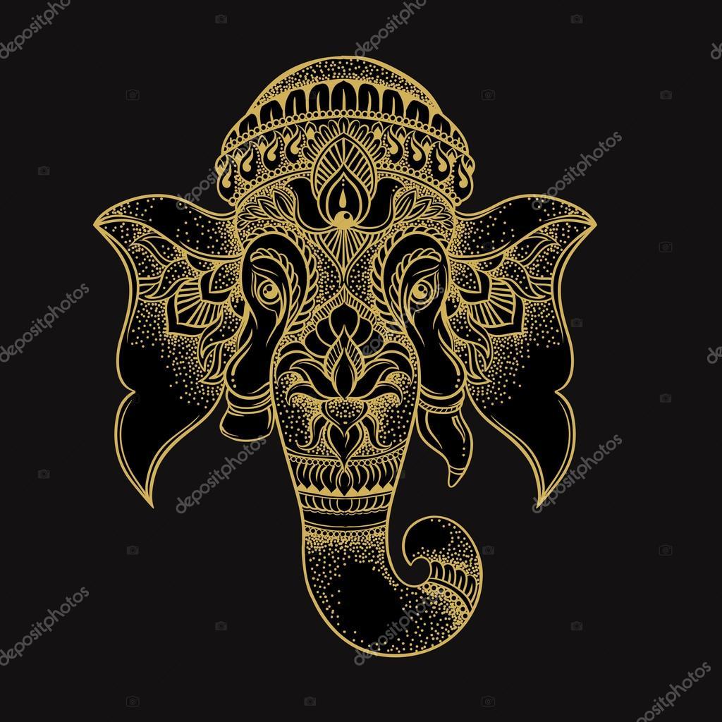 1024x1024 Hand Drawn Elephant Head Tribal Style. Hindu Lord Ganesha Vector