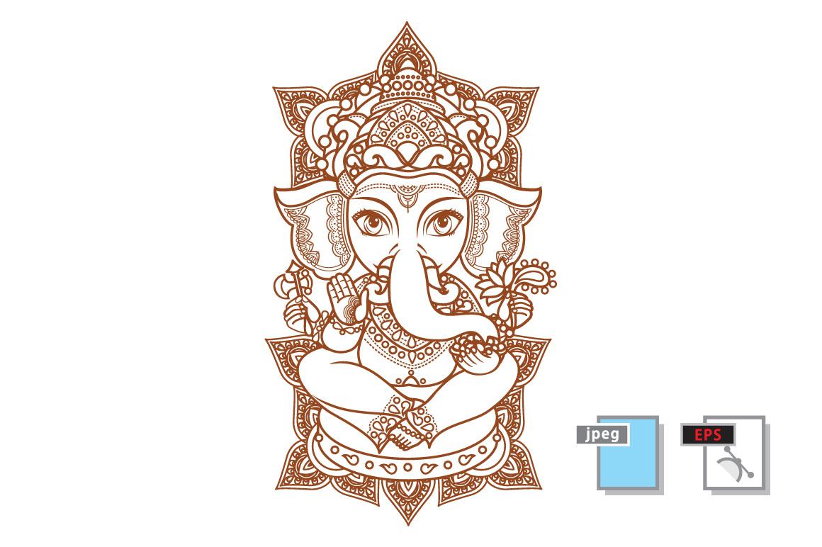 1160x772 Hindu Elephant God Lord Ganesh. Hinduism. Paisley Background