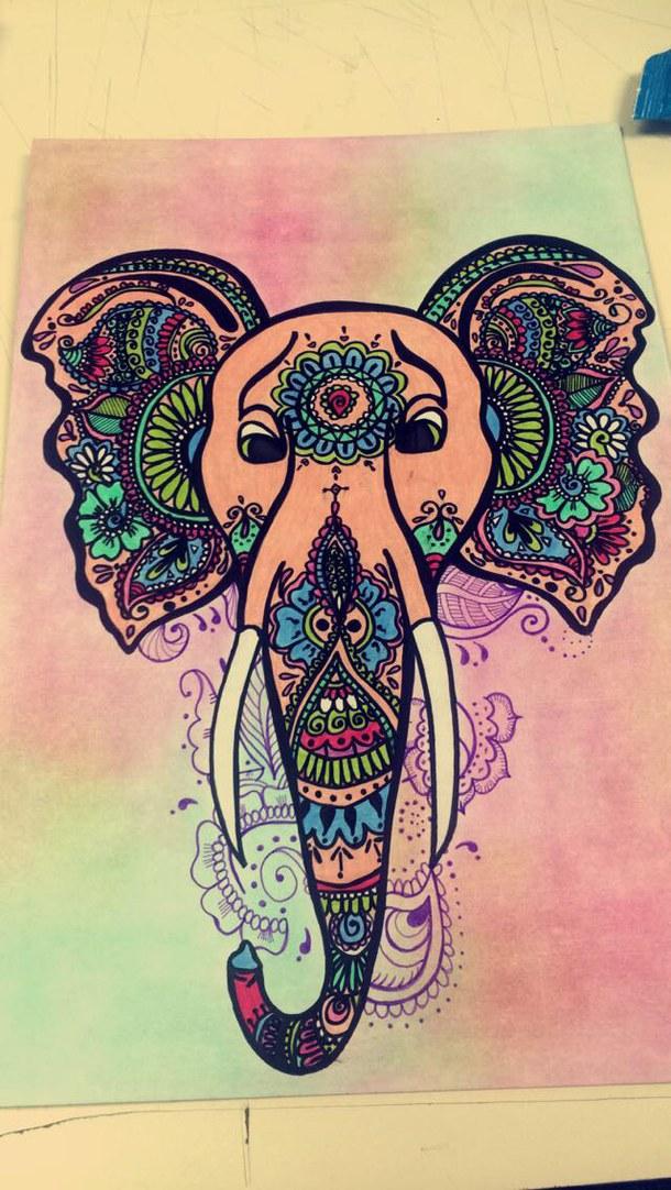 610x1082 Colors, Drawing, Elephant, Hindu, Mandalas