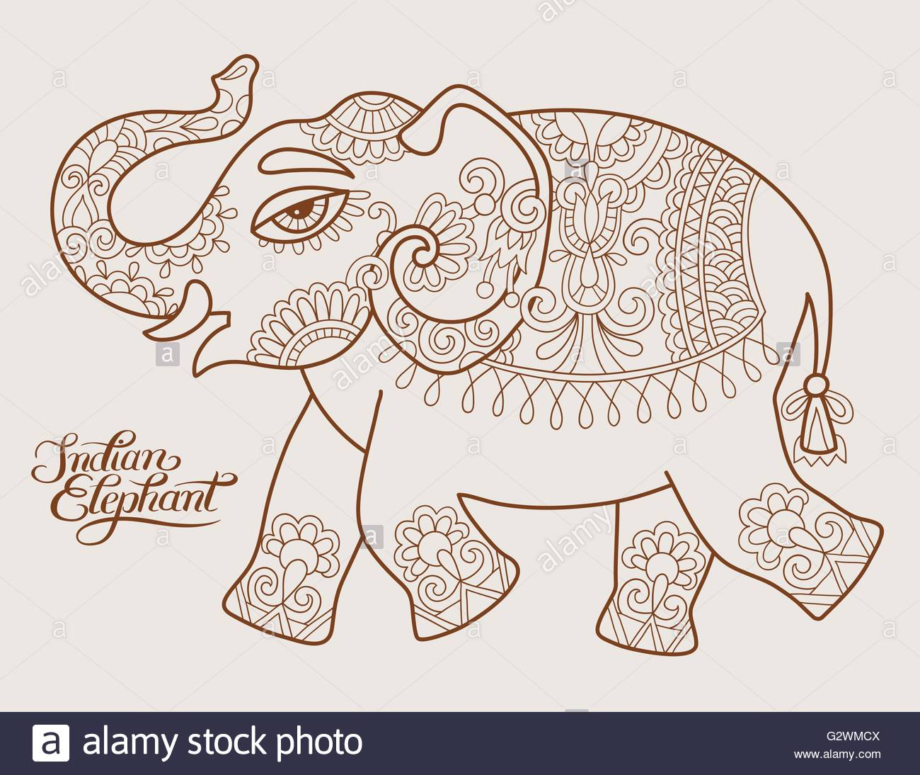 1300x1094 Original Stylized Ethnic Indian Elephant Pattern Drawing And Han